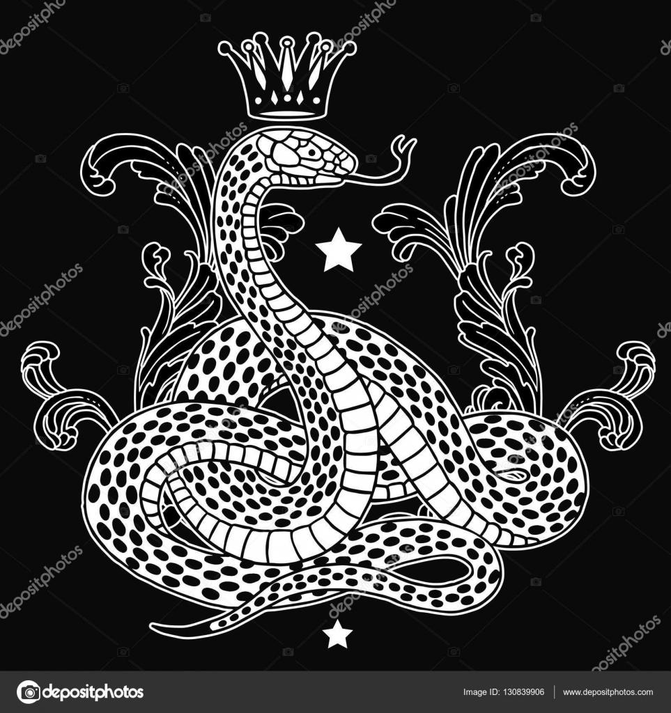 Белая змея с короной — стоковый вектор