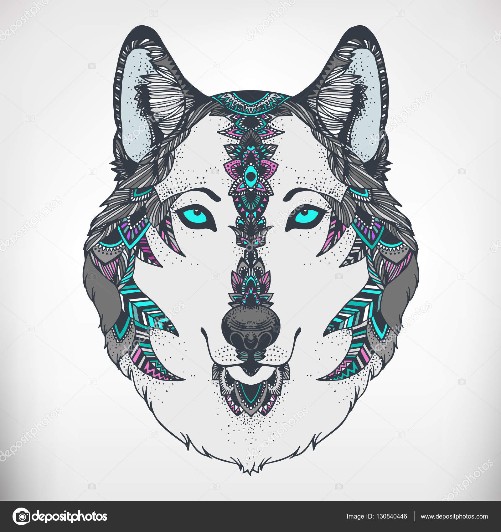 Wolf Head For Anti Stress Coloring Page Stock Vector C Mazeina
