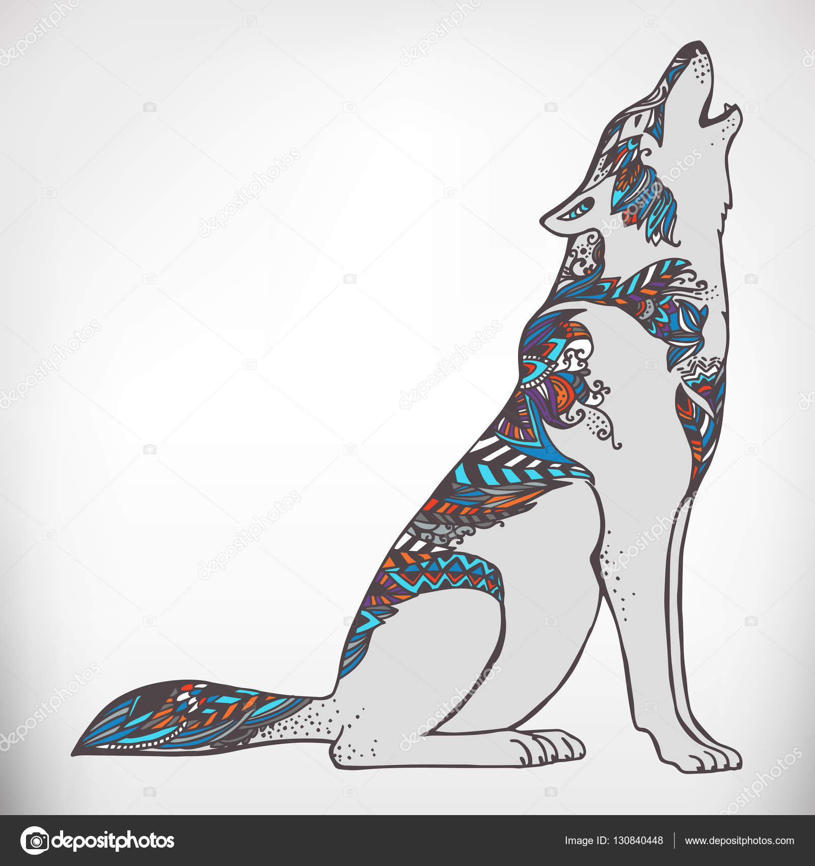 Wolf For Anti Stress Coloring Page Stock Vector C Mazeina 130840448