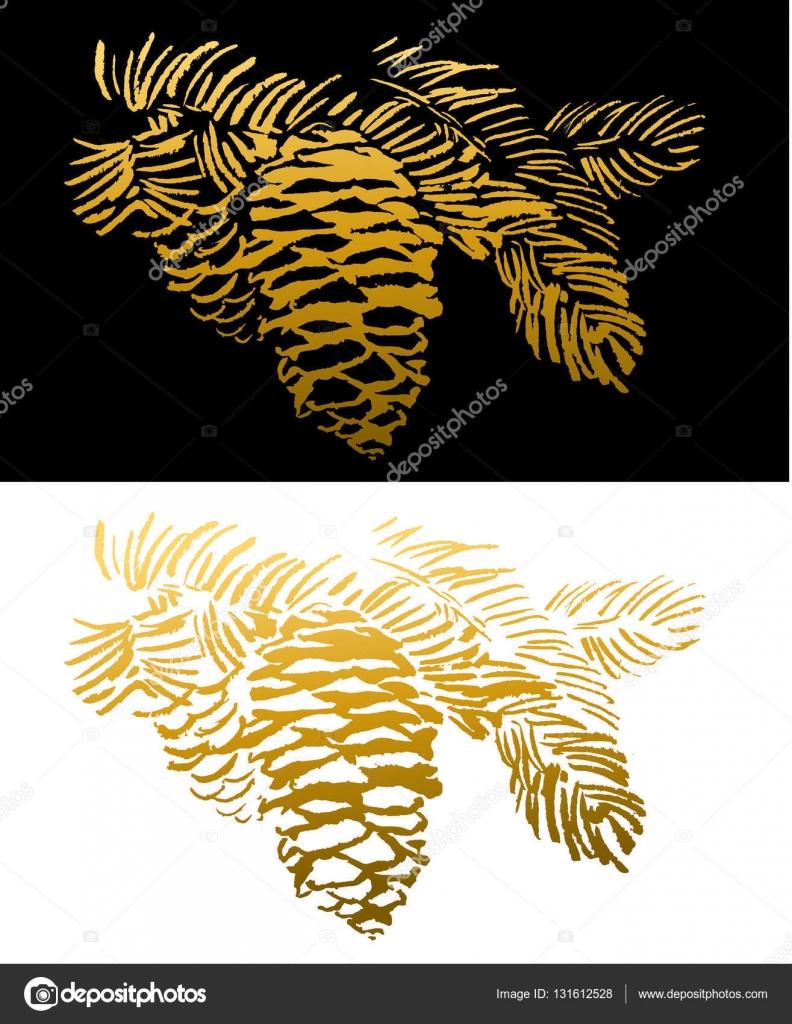 conos de pino dorado — Archivo Imágenes Vectoriales © mazeina #131612528