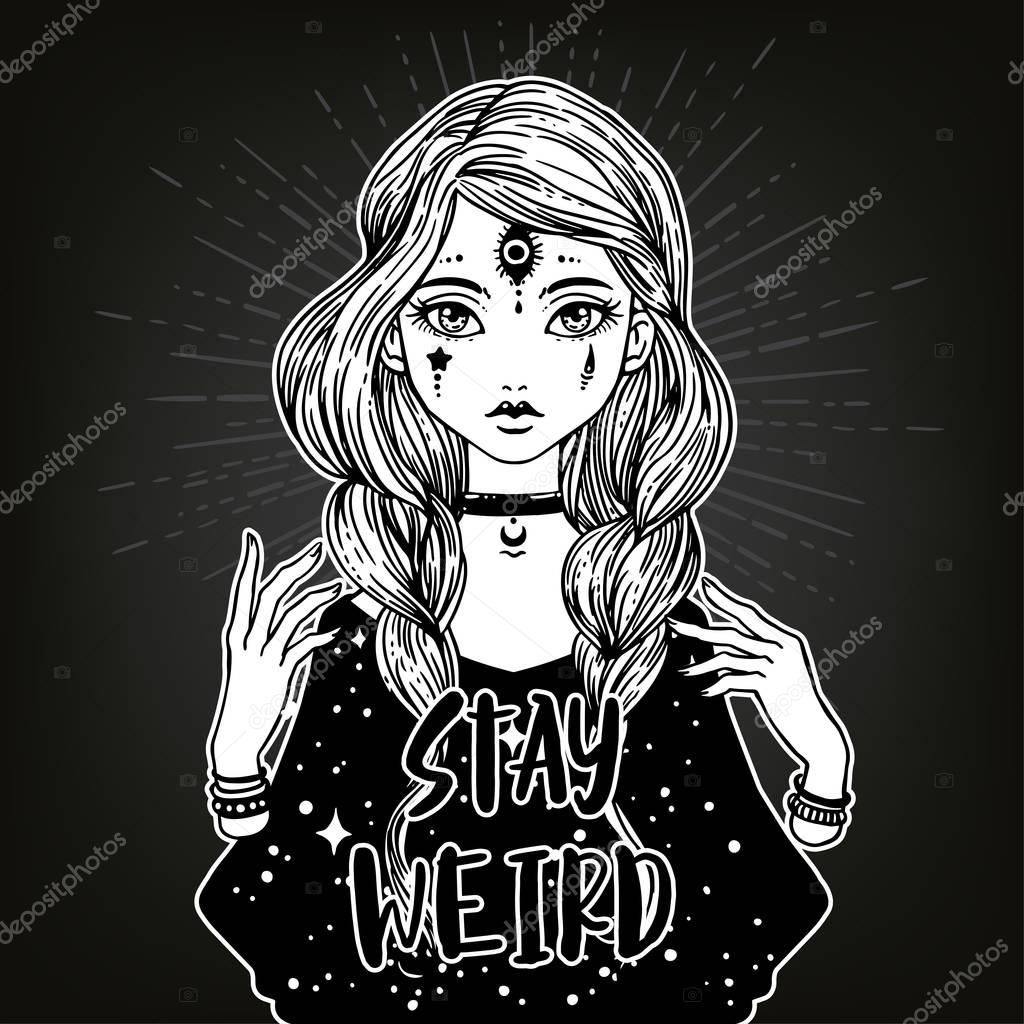 monster girl and Stay Weird lettering
