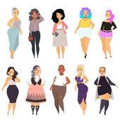 Schöne kurvige, übergewichtige Mädchen