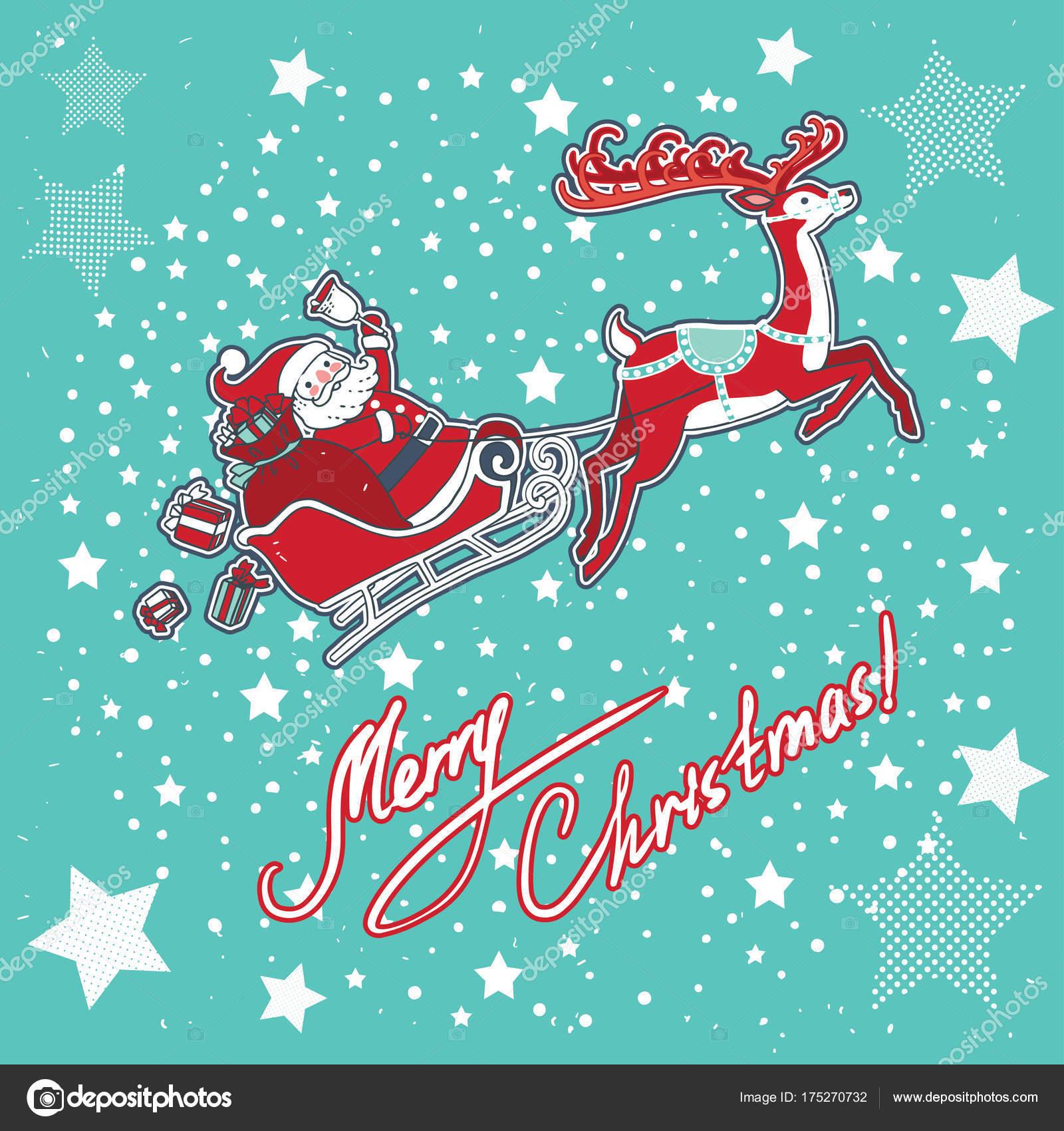 Babbo Natale Con Le Renne.Disegno Illustrazione Vettoriale Babbo Natale Sulla Slitta Con Renne