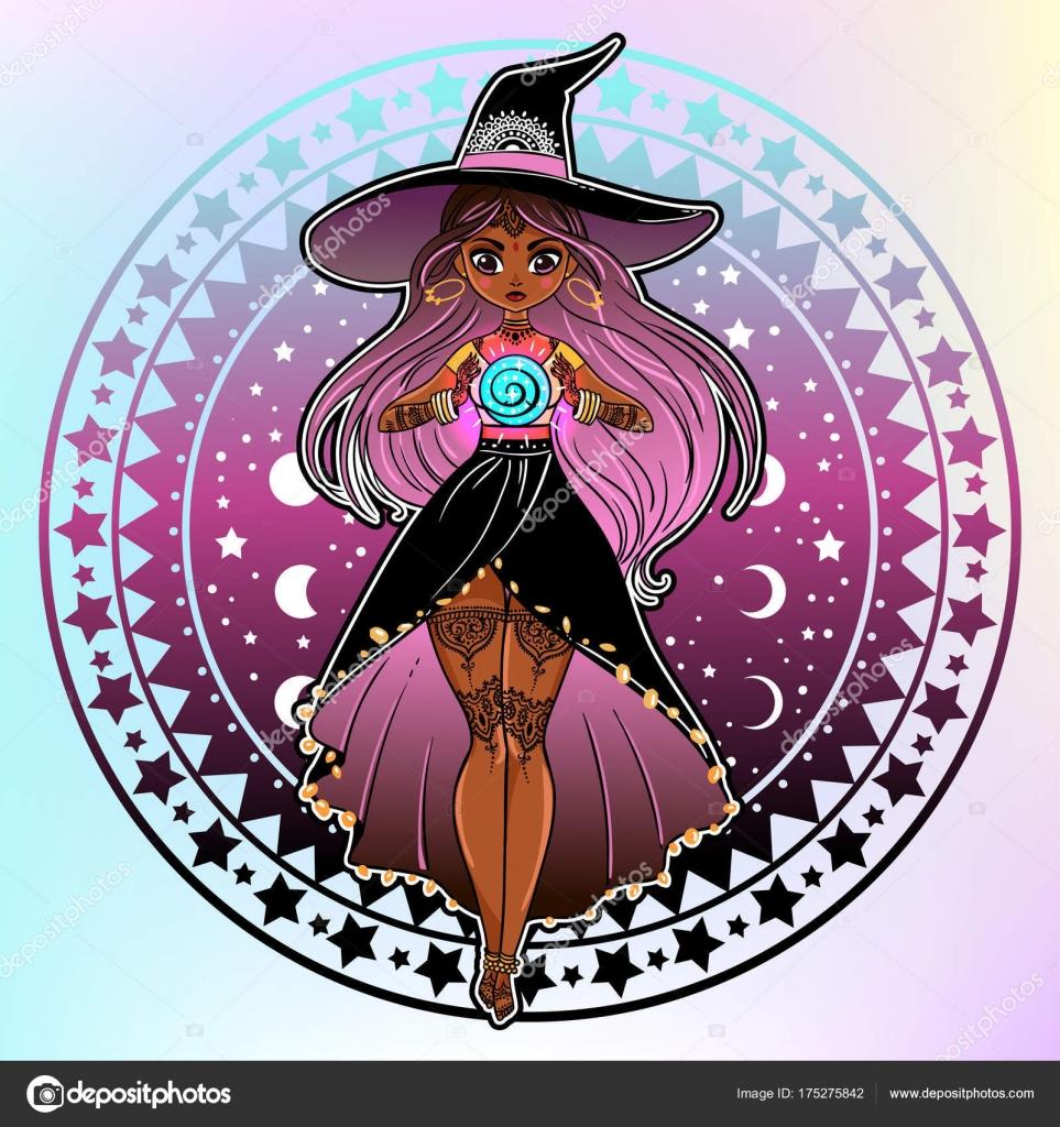 Diseño Ilustración Vectorial Color Bruja Vestido Gorro Con Objetos ...