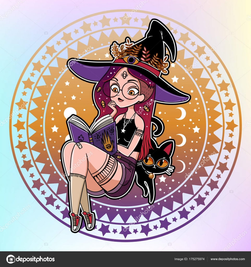 Vector Illustration Design Dessin Anime Belle Sorciere Avec