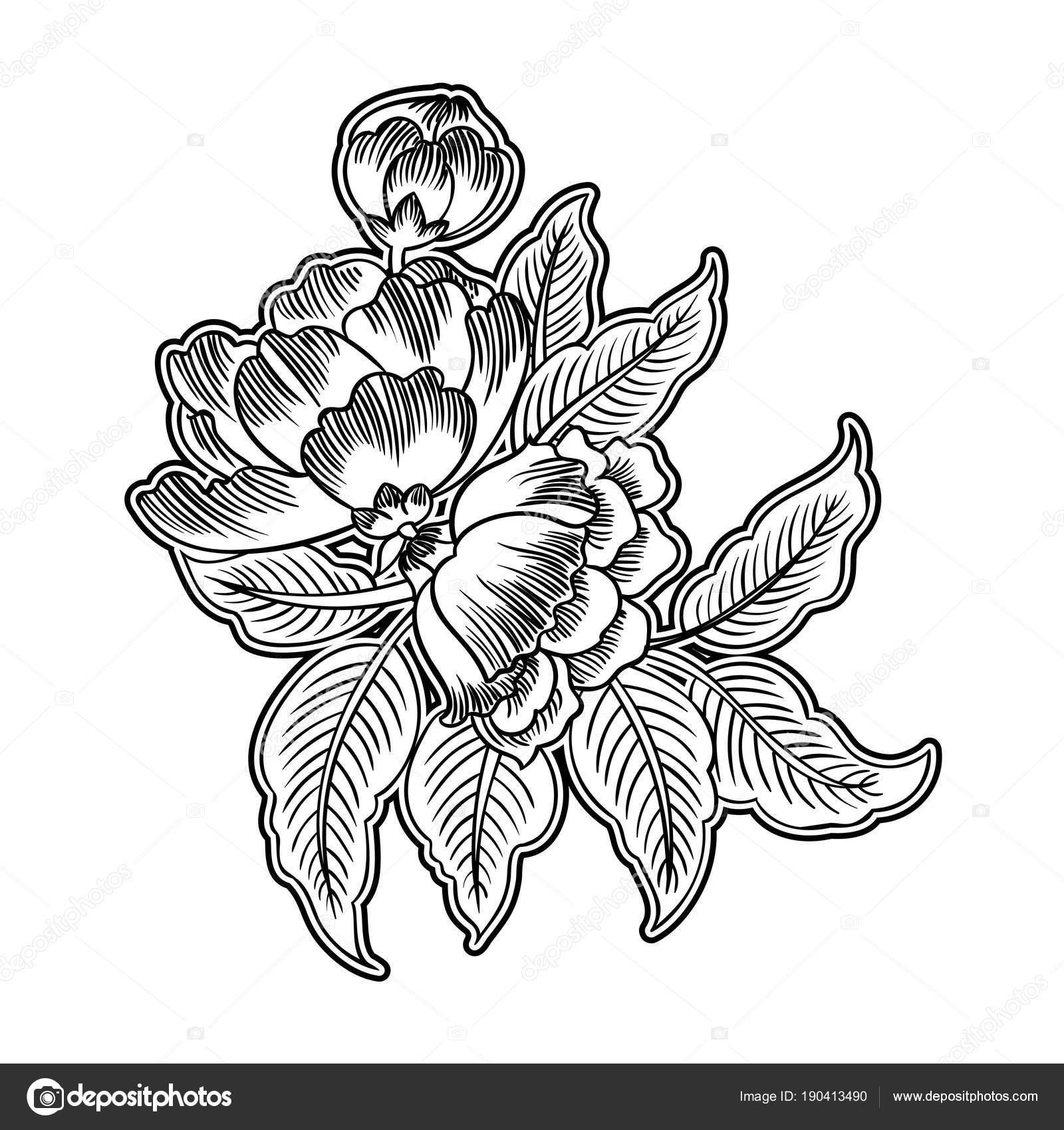 Dark Enchanted Vintage Flowers Vector Illustration Magic Forest
