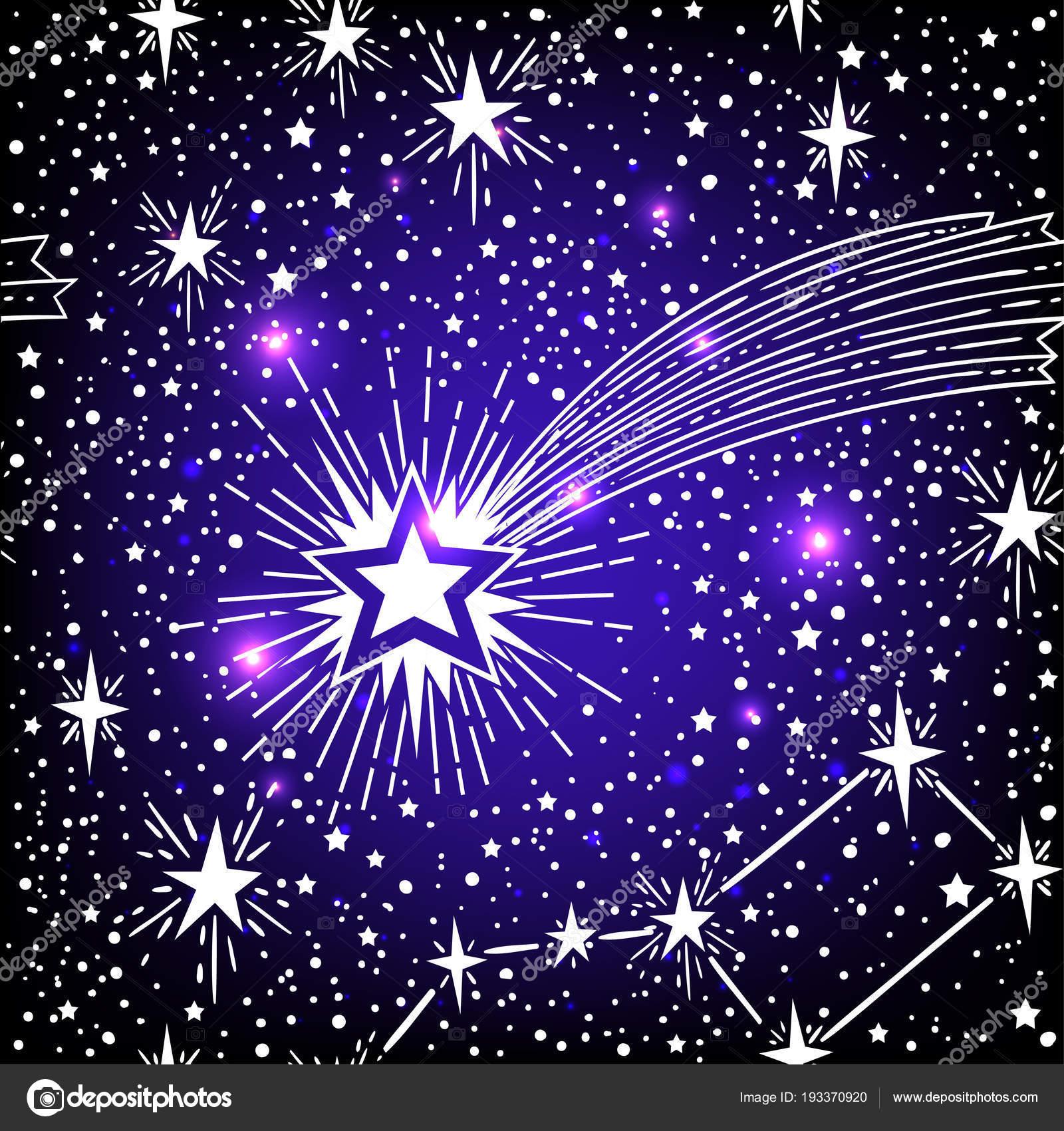 Sin Fisuras Patrón Astronómico Con Estrellas Cometa Vector ...