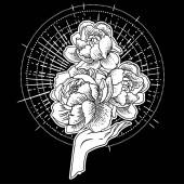 Gyönyörű kézzel rajzolt kéz tartja virágok kozmosz háttér. Vektor illusztráció elkülönítve. Tetoválás design, misztikus mágikus szimbólum az Ön számára.