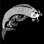 schöne Vintage-Tinte chinesischer Koi-Fische im Chinoiserie-Stil für Stoff oder Innenarchitektur. handgezeichnete Vektor-Illustration.