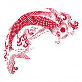 Beautiful vintage ink chinese Koi fish in chinoiserie style for fabric or interior design. Hand drawn vector illustration.