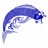 Fotografie schöne Vintage-Tinte chinesischer Koi-Fische im Chinoiserie-Stil für Stoff oder Innenarchitektur. handgezeichnete Vektor-Illustration.