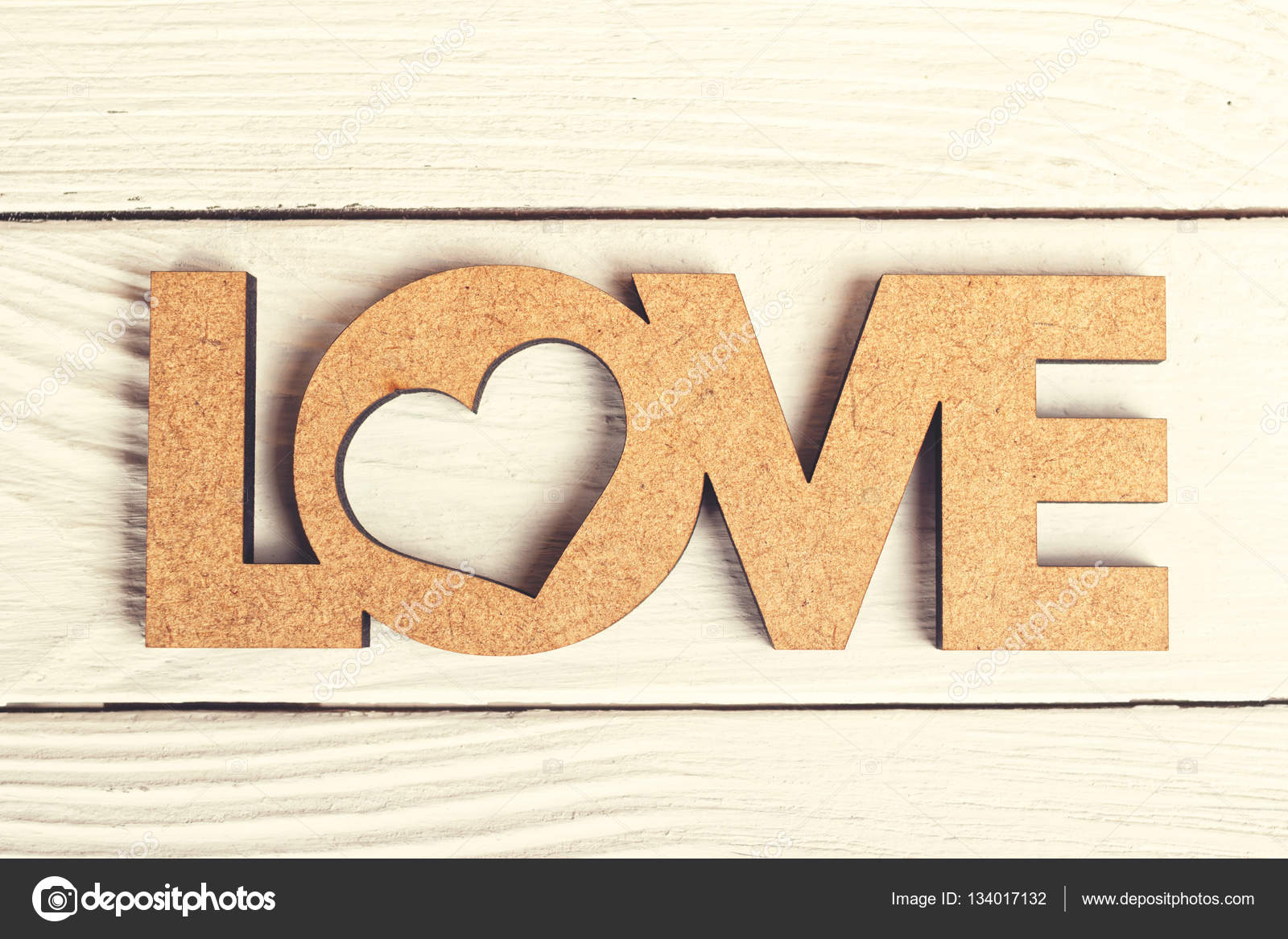 Love Word Decoration Made Of Wood On Retro Planks Stock Photo