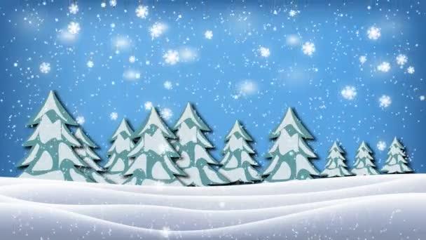 Plynulé animace bílé zasněžené a snow zimní krajina s suché a vánoční stromky a horské pozadí a sněhové vločky padající sněhové modrá obloha zasněžené koncept v rozlišení 4k