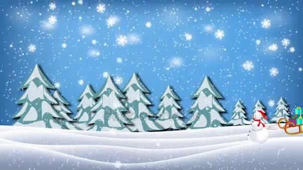 Sněhulák vytáhl sáně plné ve vánoční zimní krajina