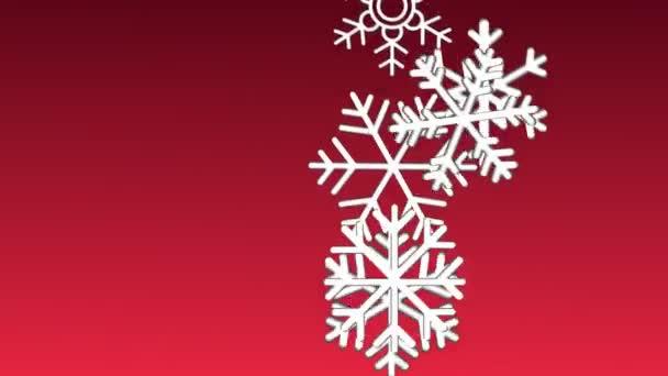 Animace bílá pletená sněhová vločka a veselé Vánoce text na červeném pozadí
