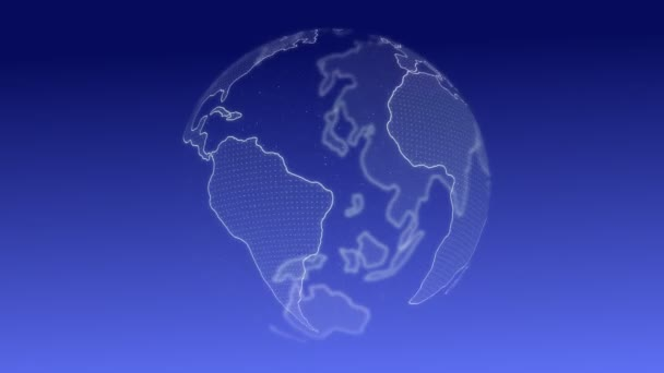 Erde Globus 3D mit Business Graphen Technologie. Erfolgskonzept. Diagramme und Graphen Cyber-Loop-Animation. futuristisches Hologramm Planet Erde.