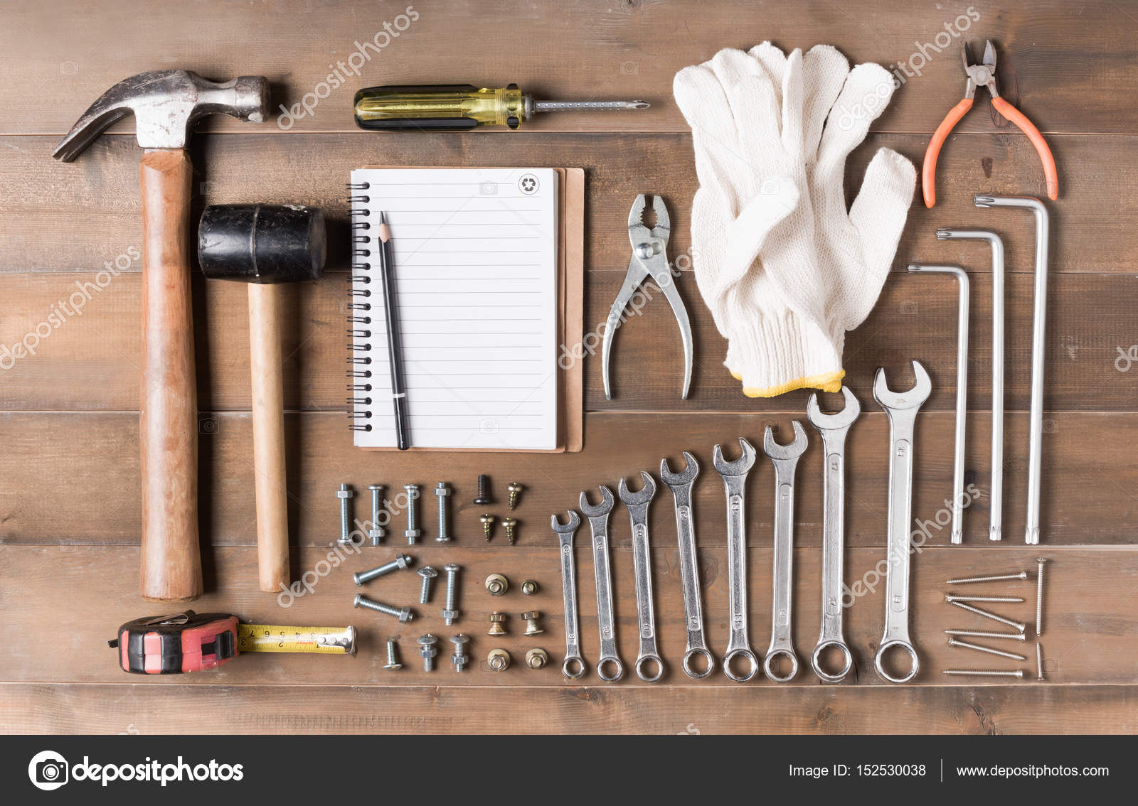 Set Tools Supplies With Blank Notebook On Wood Stock Photo