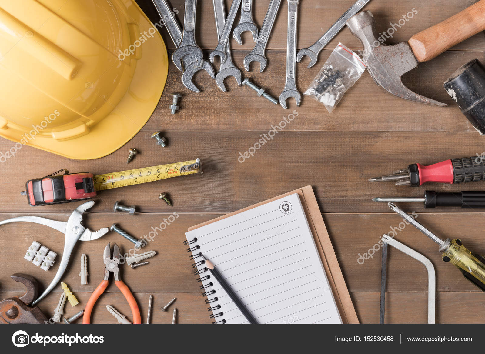 Blank Notebook And Tools Supplies On Wood Background Stock Photo