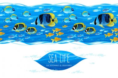 Horizontal seamless sea life border