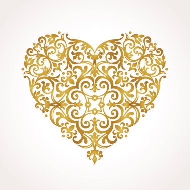 Golden heart in Victorian style