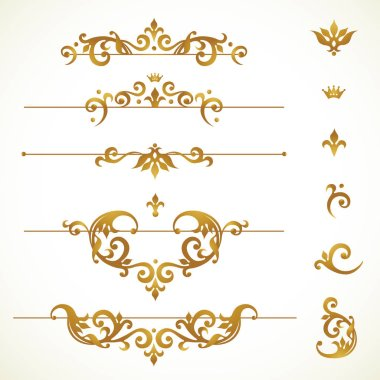 Vector set vignettes, frames, scroll elements for design template. Golden floral borders in Victorian style. Ornate decor for invitation, greeting card, label, badge. stock vector