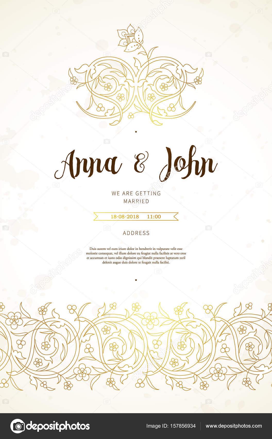Carte De Mariage En Style Oriental Image Vectorielle