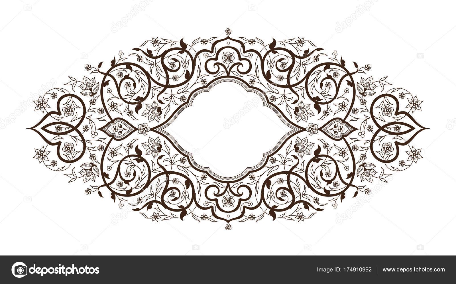 Schwarz Dekor; reich verzierte Rahmen im östlichen Stil — Stockfoto ...