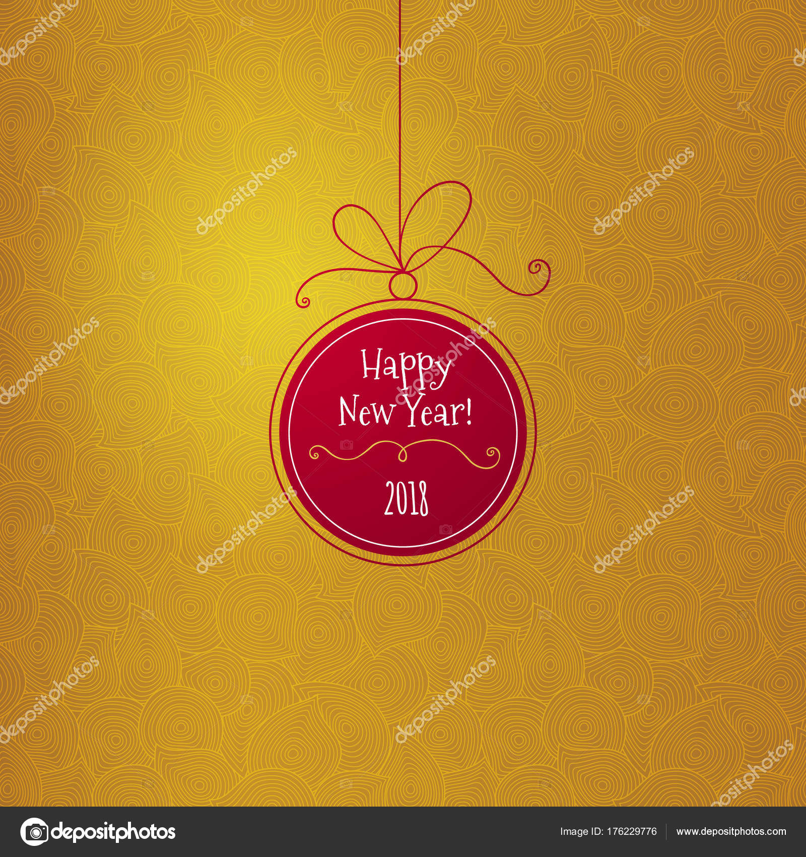 Red Ball With New Years Greeting On Golden Backdrop Stock Vector