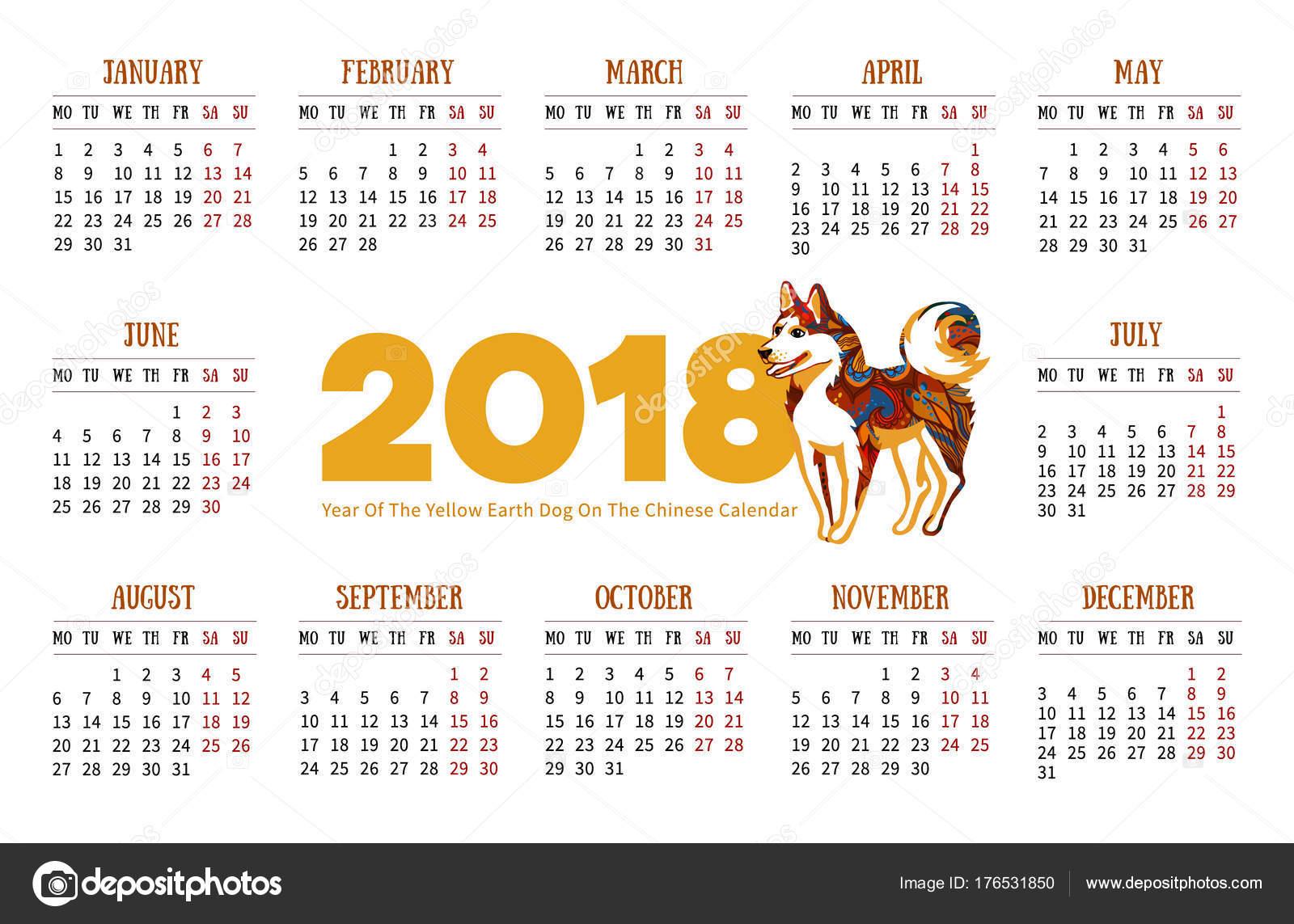 Vector Calendar 2018 Russian Illustration Yellow Earthy Dog Symbol