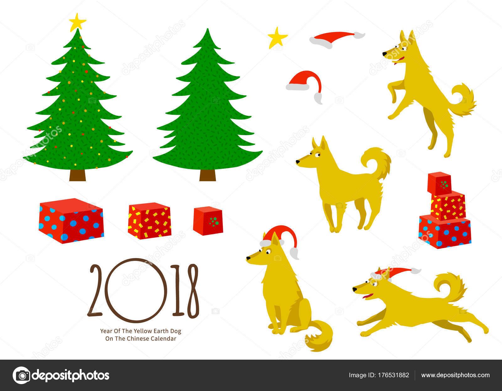 Vector Set Illustration Dogs Symbol 2018 Chinese Calendar Drawing