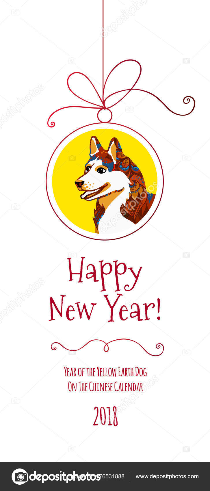 vector banner illustration dog symbol 2018 chinese calendar decoration traditional stock vector