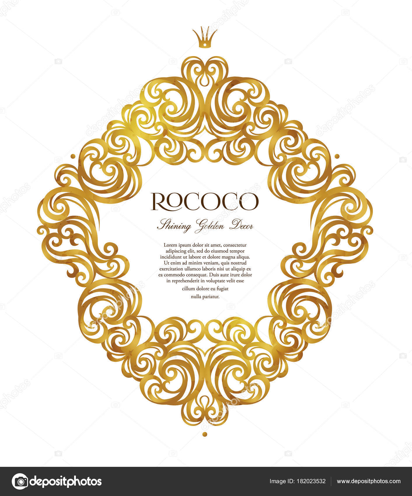 e60a7a037274 Vector vintage frame  ornate floral vignette for design template. Victorian  style gold element. Rococo decoration. Arabic golden motifs.