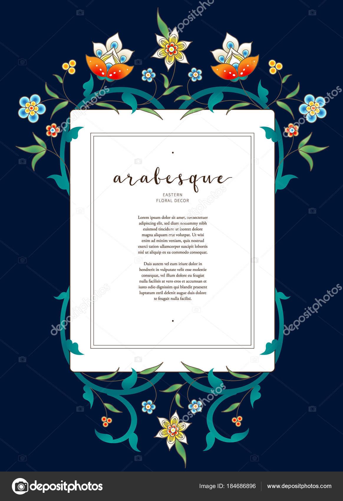 Marco cuadrado floral de vector de estilo oriental — Vector de stock ...