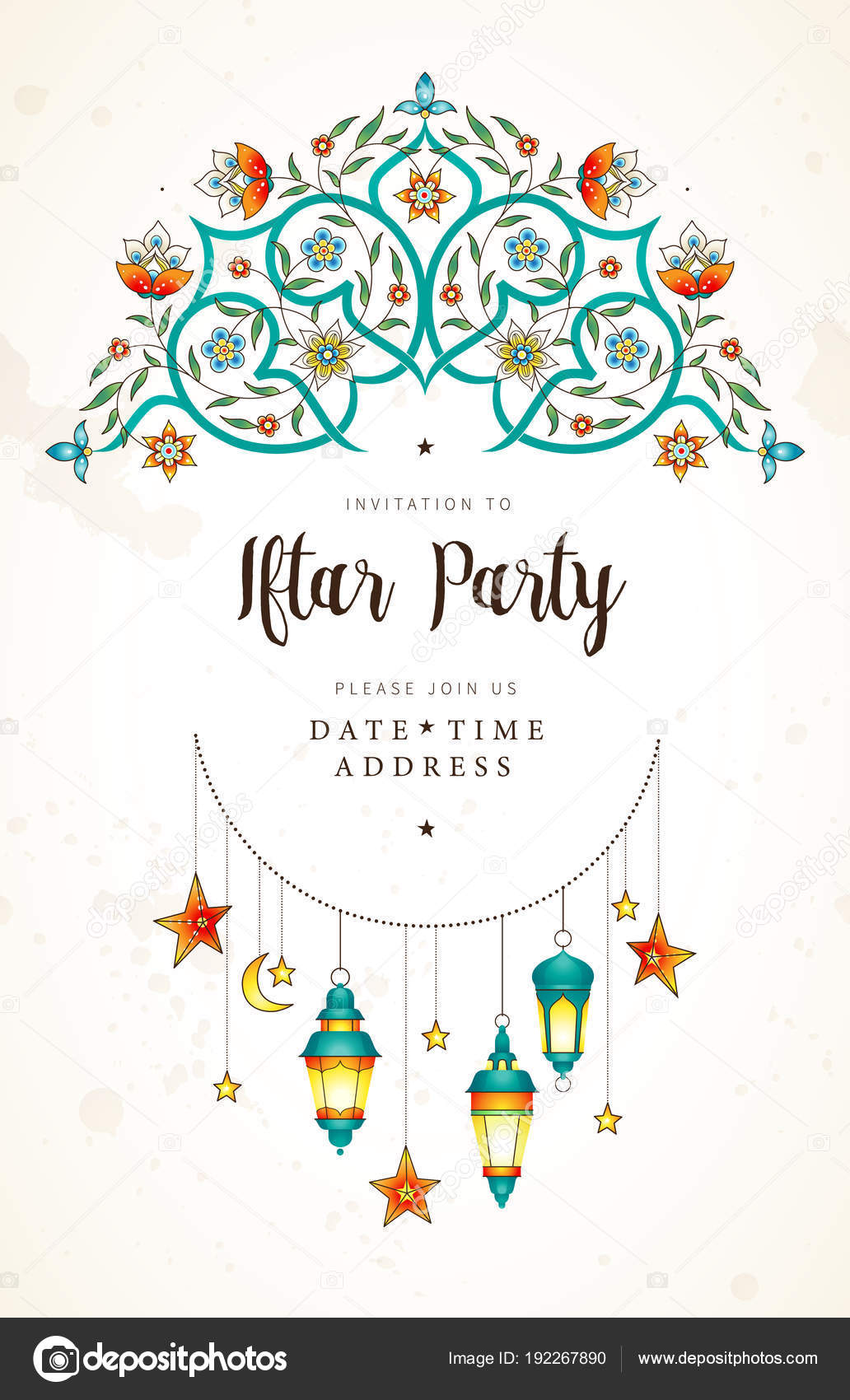 Vector Cards For Invitation To Iftar Party Celebration