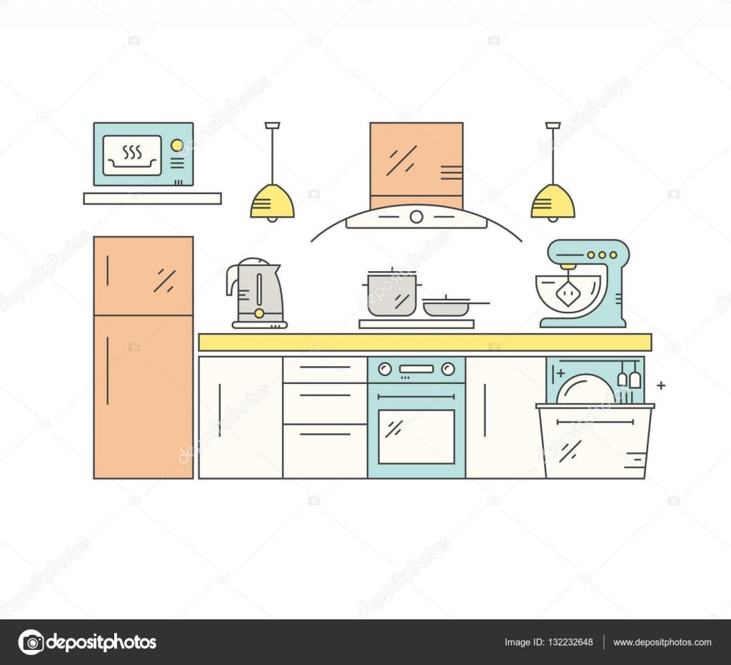 현대 부엌 디자인 — 스톡 벡터 © Favetelinguis199 #132232648