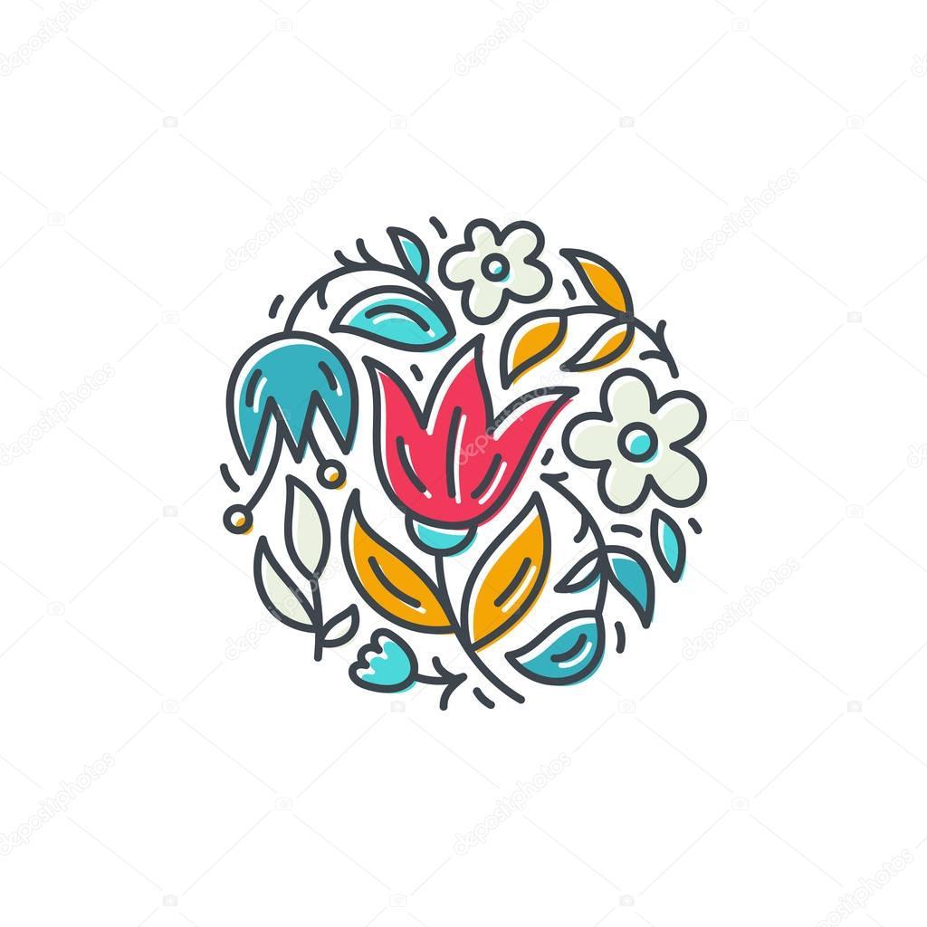 Flower Logo in Circle