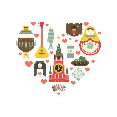 Russian Symbols in Heart