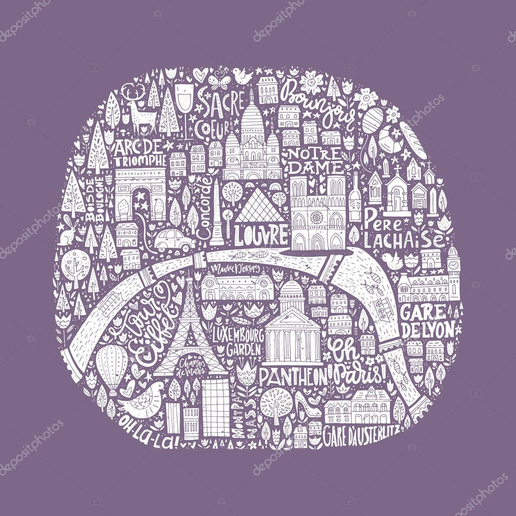 Handdrawn Paris Map