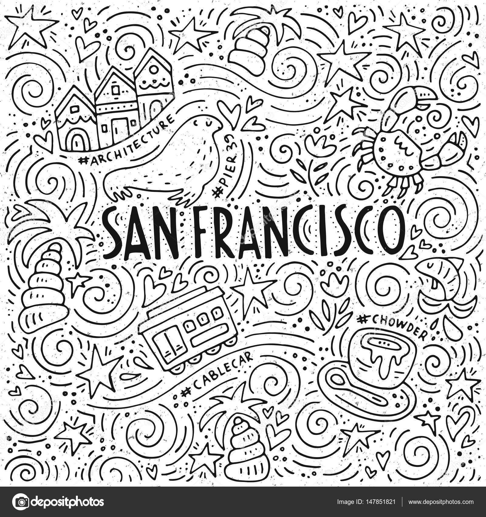 The Symbols Of San Francisco In Pattern Stock Vector