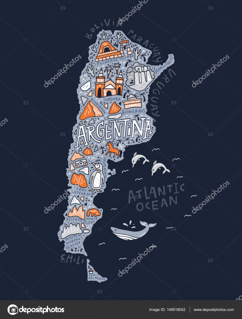 The Cartoon Map Of Argentina Stock Vector C Favetelinguis199