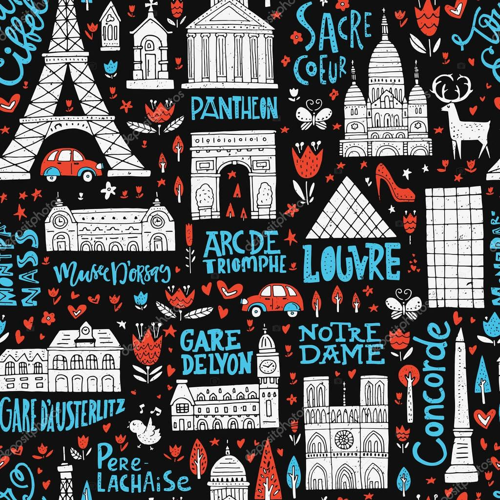 France Seamless Pattern