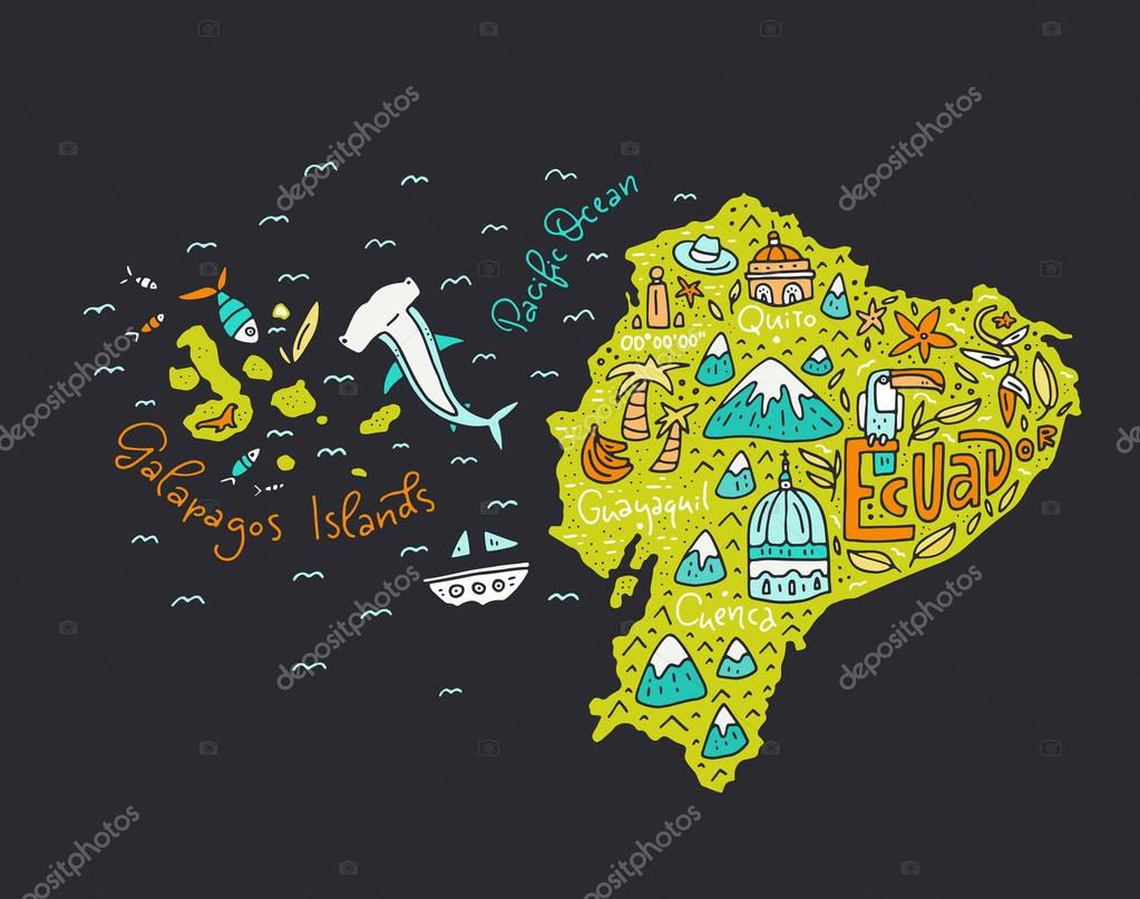Cartoon Map of Ecuador