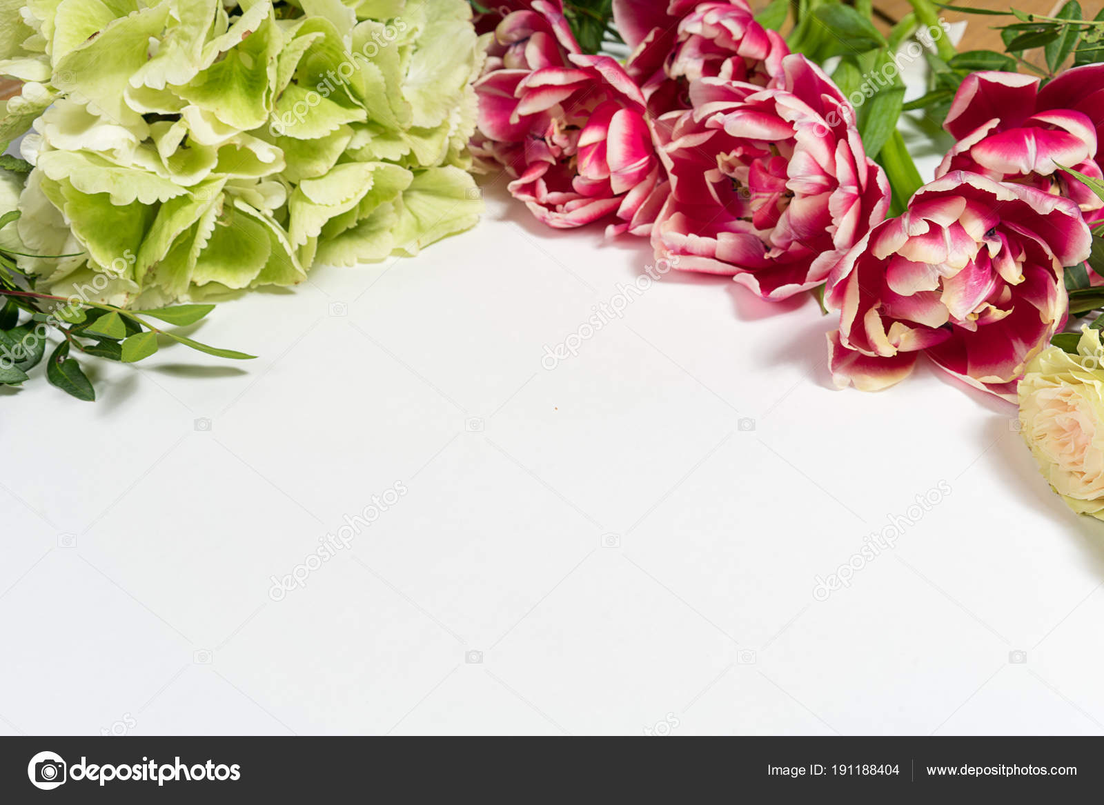 Spring Flowers Pink Flowers White Wooden Background Flat Lay Top