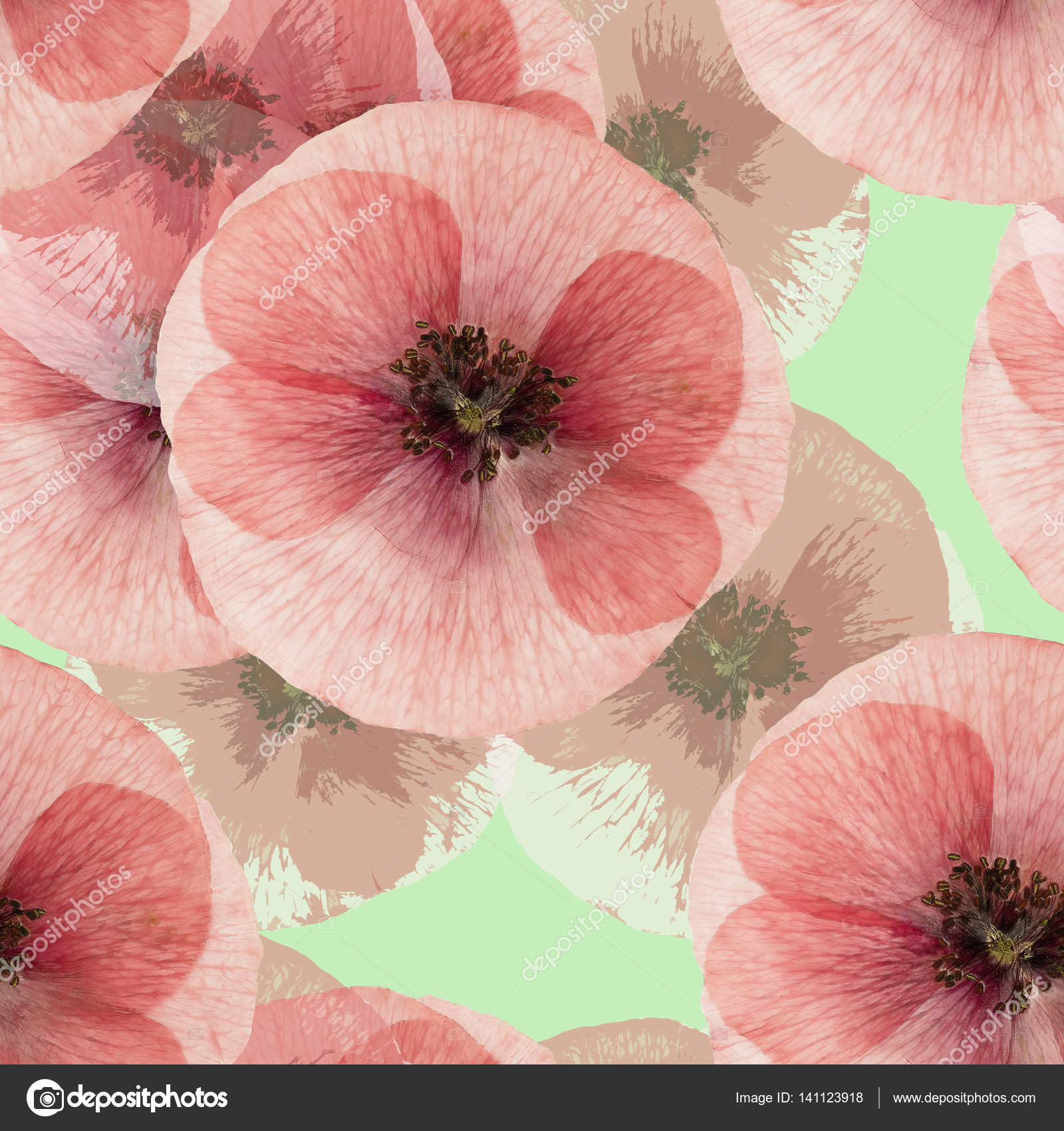 Poppy Seamless Pattern Texture Of Pressed Dry Flowers Stock