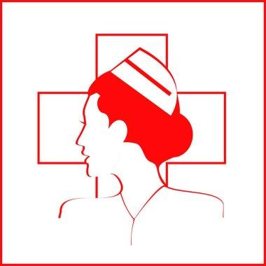 Nurse. Nurse head. Nurse icon. Nurse side view.