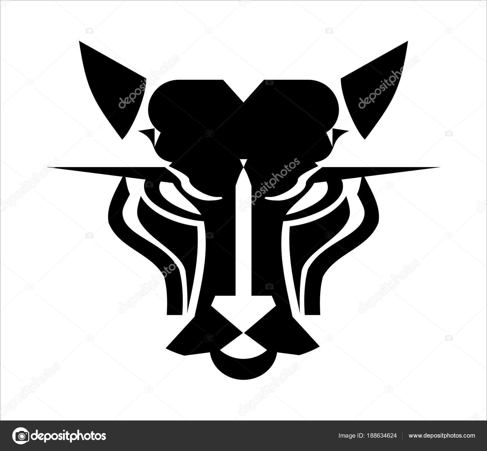 cat head logo panther head icon � stock vector