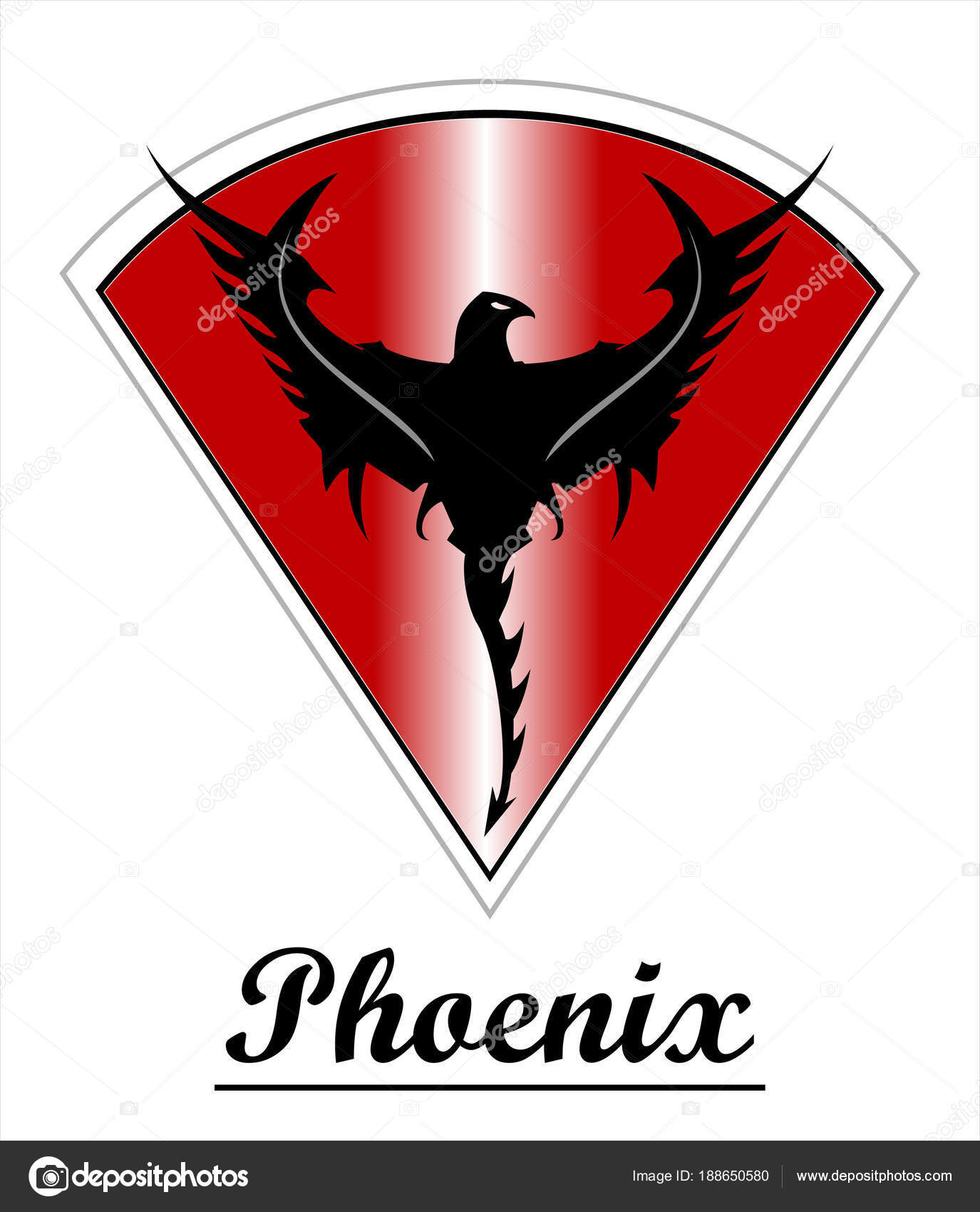 Black Phoenix Red Shield Stock Vector Stendy1127 At Gmailcom