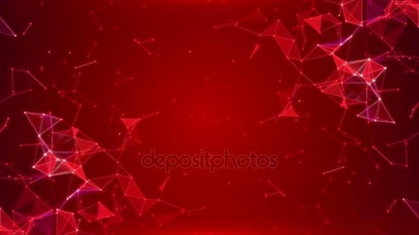 Izzó háromszögek és a részecskék egy piros absztrakt háttér