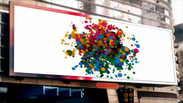 billboard on the street, on the building, multi-colored flying circles