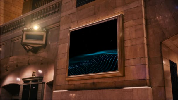 reklama na obrazovce na zdi staré budovy